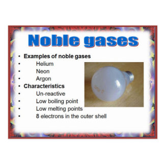 Science, Reactivity,  Noble gases Postcard