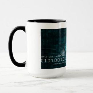 Science Technology Background as a Digital Binary Mug