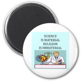 science vs religion joke 6 cm round magnet
