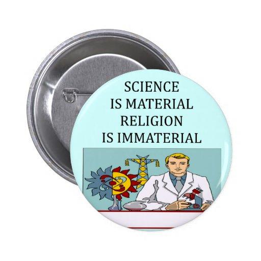 science vs religion joke pinback button