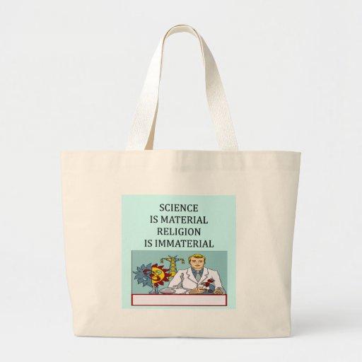 science vs religion joke canvas bag