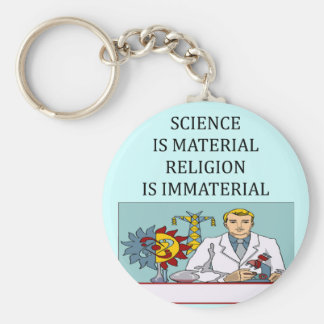 science vs religion joke basic round button key ring