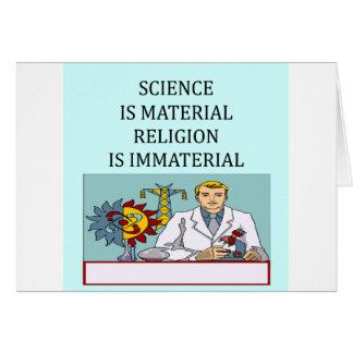 science vs religion joke card