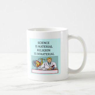science vs religion joke classic white coffee mug