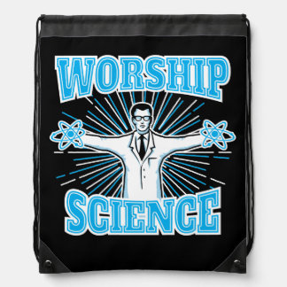 Science Worship Funny Geek & Atheist Anti-Religion Drawstring Backpack