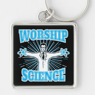 Science Worship Funny Geek & Atheist Anti-Religion Silver-Colored Square Key Ring