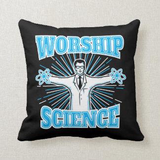 Science Worship Funny Geek & Atheist Anti-Religion Throw Cushion
