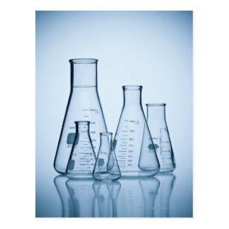 Scientific glassware blue postcard