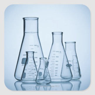 Scientific glassware blue square sticker