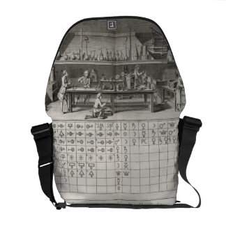 Scientific laboratory and table of chemical signs, courier bags