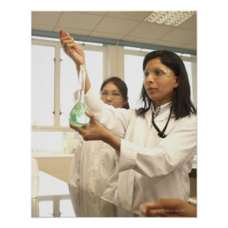 Scientist adding solution to beaker poster