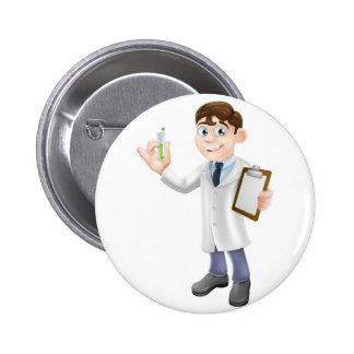 Scientist cartoon pinback button
