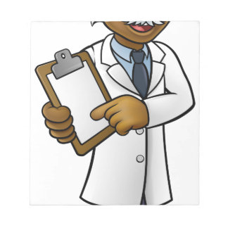 Scientist Cartoon Character Holding a Clipboard Notepad