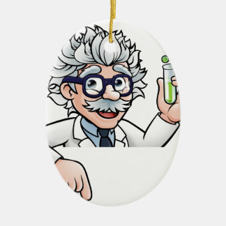 Scientist Cartoon Character Holding Test Tube Ceramic Ornament