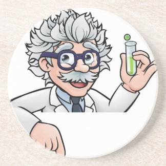 Scientist Cartoon Character Holding Test Tube Coaster