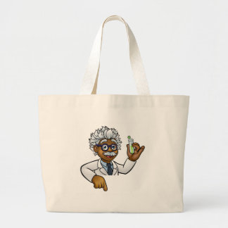 Scientist Cartoon Character Holding Test Tube Large Tote Bag