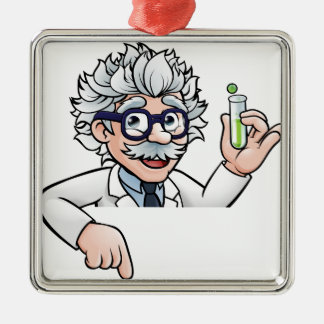 Scientist Cartoon Character Holding Test Tube Metal Ornament