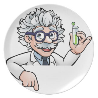 Scientist Cartoon Character Holding Test Tube Plate