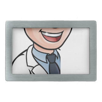 Scientist Cartoon Character Pointing at Sign Belt Buckles