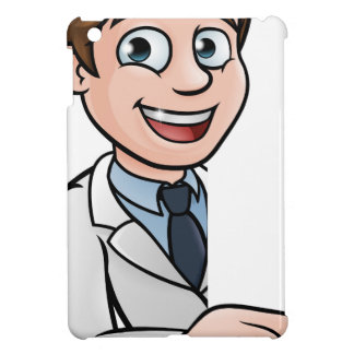 Scientist Cartoon Character Pointing at Sign Case For The iPad Mini