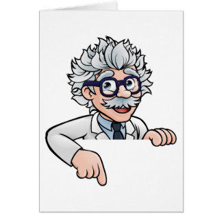 Scientist Cartoon Character Pointing Down Card