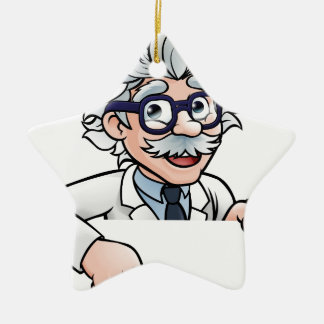 Scientist Cartoon Character Pointing Down Ceramic Ornament