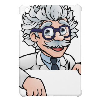 Scientist Cartoon Character Pointing Down iPad Mini Cases