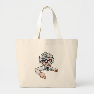 Scientist Cartoon Character Pointing Down Large Tote Bag
