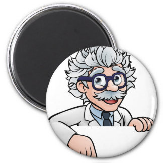 Scientist Cartoon Character Pointing Down Magnet