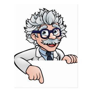 Scientist Cartoon Character Pointing Down Postcard