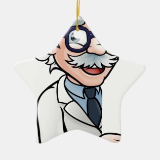 Scientist Cartoon Character Pointing Sign Ceramic Ornament