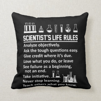 Scientist Life Rules Never Stop Learn Cushion