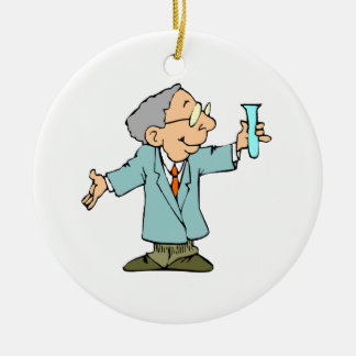 Scientist Nerd in Lab Coat With Test Tube Christmas Tree Ornaments