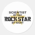 Scientist Rock Star by Night Round Stickers