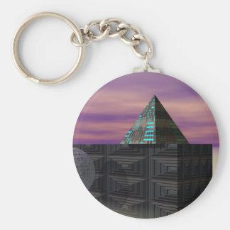 Scifi Art Pyramid Electronics Tech STEM Gifts Basic Round Button Key Ring
