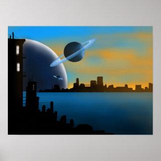 SciFi City Art Poster