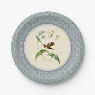 Scintillant Hummingbird Blue Damask Paper Plates