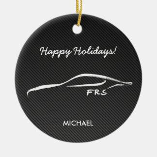 Scion FR-S White Silhouette logo w/ faux carbon Ceramic Ornament