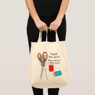 Scissor And Thread Funny Tote Bag