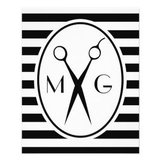 Scissor Monogram Initials Hair Stylist Barber Shop 11.5 Cm X 14 Cm Flyer