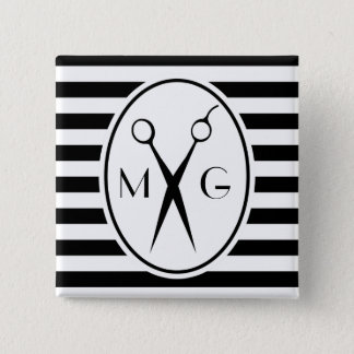 Scissor Monogram Initials Hair Stylist Barber Shop 15 Cm Square Badge