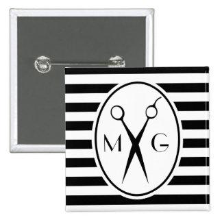 Scissor Monogram Initials Hair Stylist Barber Shop 15 Cm Square Badge