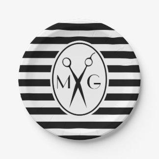 Scissor Monogram Initials Hair Stylist Barber Shop 7 Inch Paper Plate