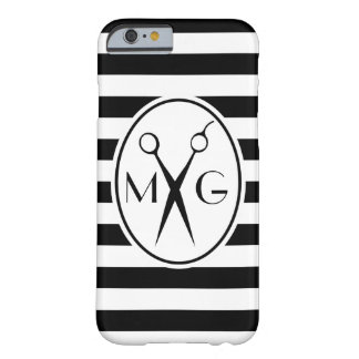 Scissor Monogram Initials Hair Stylist Barber Shop Barely There iPhone 6 Case