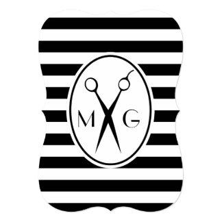Scissor Monogram Initials Hair Stylist Barber Shop Card