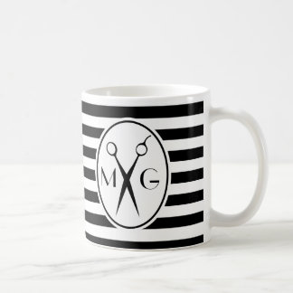 Scissor Monogram Initials Hair Stylist Barber Shop Coffee Mug
