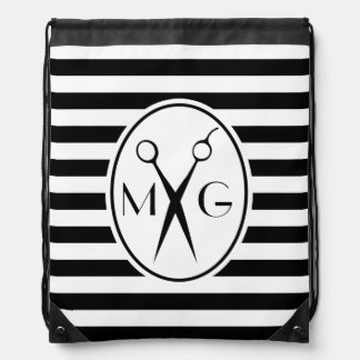 Scissor Monogram Initials Hair Stylist Barber Shop Drawstring Bag