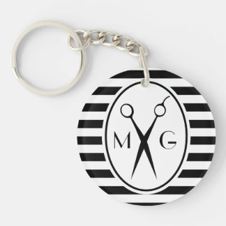 Scissor Monogram Initials Hair Stylist Barber Shop Key Ring
