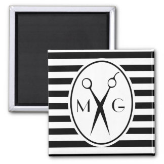 Scissor Monogram Initials Hair Stylist Barber Shop Magnet