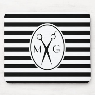 Scissor Monogram Initials Hair Stylist Barber Shop Mouse Pad